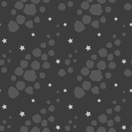 Seamless pattern with asteroids and stars