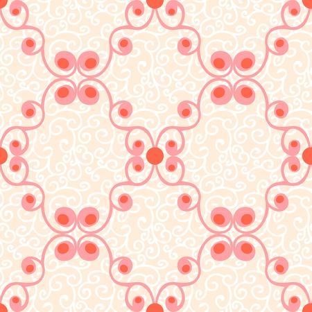 pale cream: Ornamental seamless vector pattern Illustration