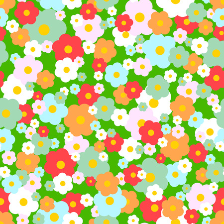 70s: Cute vector seamless pattern 70s style daisies