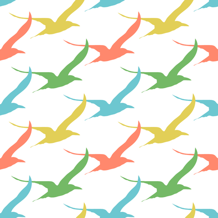 Birds seamless pattern colorful vintage style