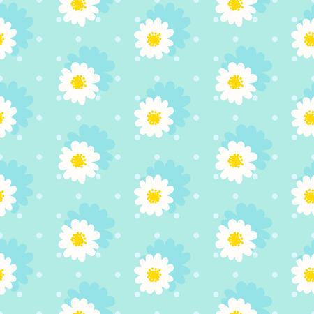 White daisy seamless pattern .Daisy field. Flower chain  イラスト・ベクター素材