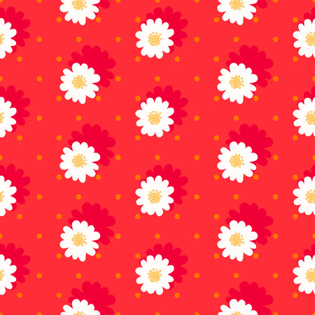daisy field: White daisy seamless pattern .Daisy field. Flower chain Illustration