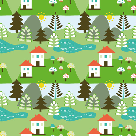 lake house: Country landscape seamless pattern  with  tree, house, lake and forest Illustration