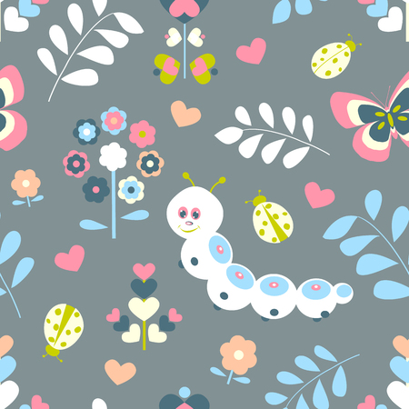 ladybug: Floral seamless pattern with butterflies, hearts and ladybugs for kids