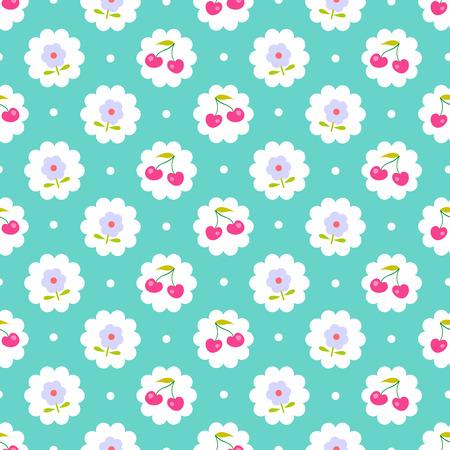 甘果オウトウと花のシームレスなパターン。ぼろぼろのシックなスタイル。