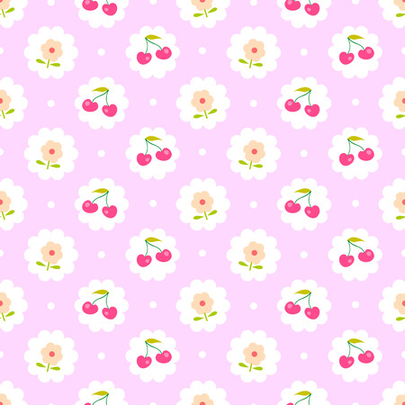Seamless pattern with sweet cherry and flower. Shabby chic style.