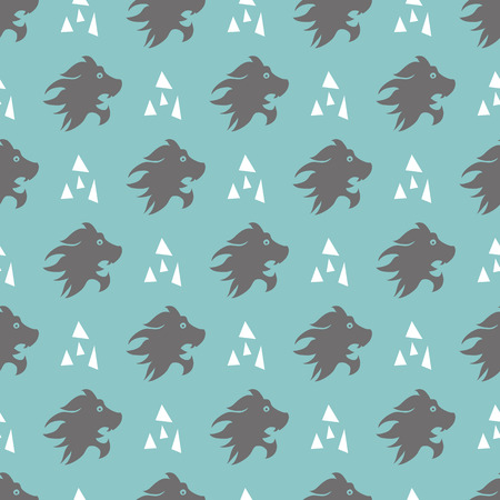 Seamless pattern with lion head and triangles