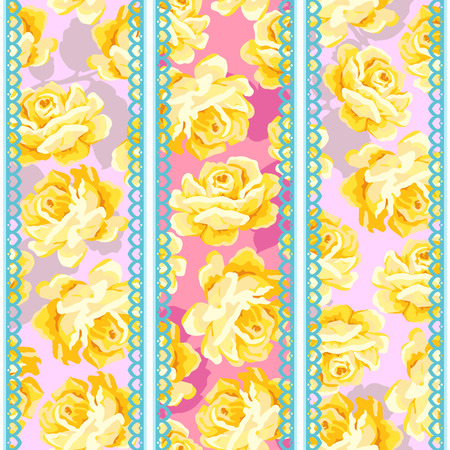 Shabby chic seamless pattern with lace ribbon Illustration