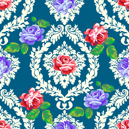 Shabby chic rose damask pattern. Vector seamless vintage floral background