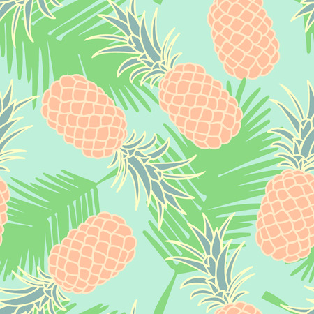 Abstract seamless pineapple pattern with palm leaves
