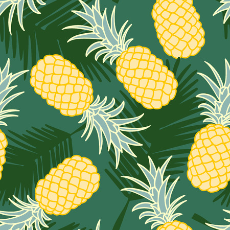 ananas: Abstract seamless pineapple pattern with palm leaves