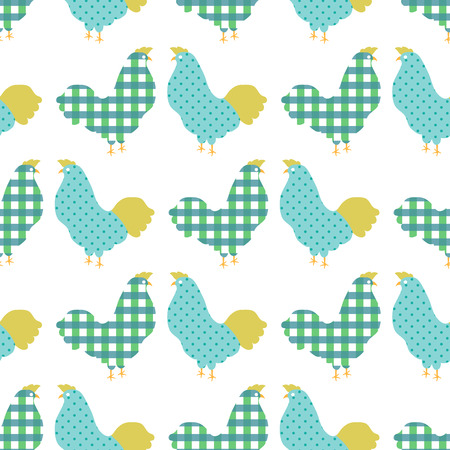 interior decoration: Sweet colorful chicken seamless pattern  vector illustration Illustration