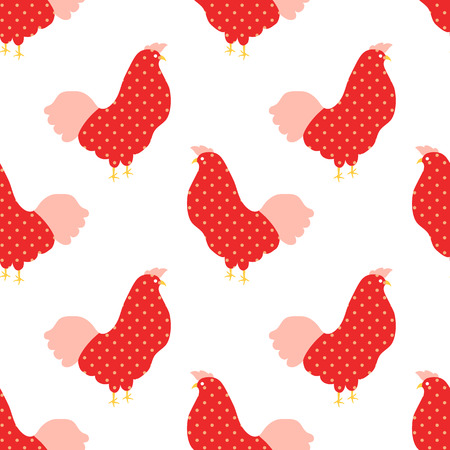 Sweet colorful chicken seamless pattern  vector illustration  イラスト・ベクター素材