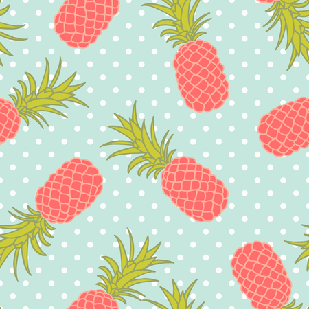 sweet baby girl: Seamless pineapple pattern with polka dots Illustration