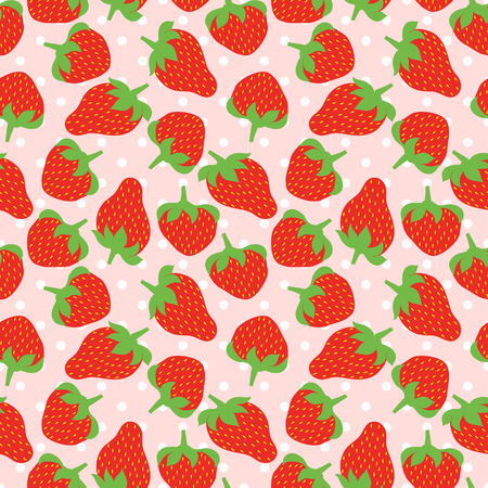 strawberry cartoon: Seamless vector pattern with strawberries