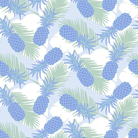Seamless tropical pineapple and palm leaves pattern