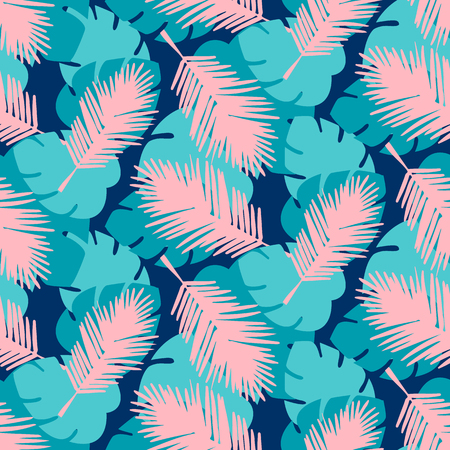 Seamless tropical palm leaves illustration background pattern