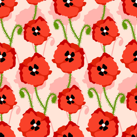 seamless pattern with poppies Illustration