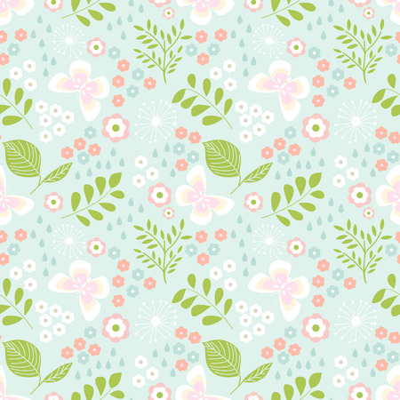 Floral seamless pattern with butterflies, leaves for kids Illustration