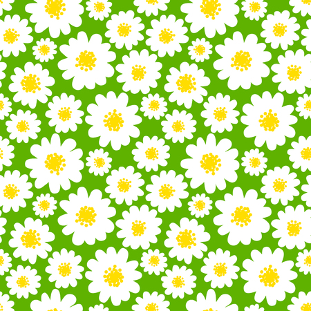 marguerite: White daisies seamless pattern on a green background. Daisy field