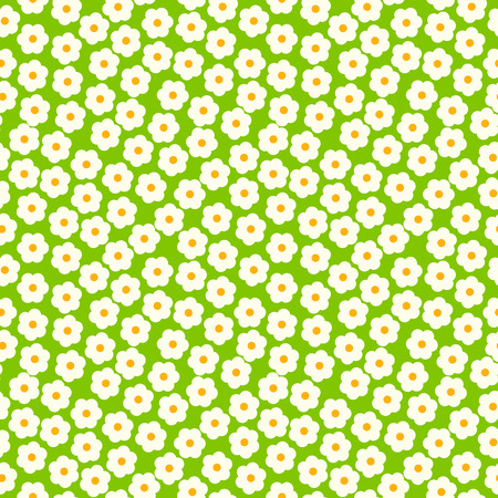 daisy field: White daisies seamless pattern on a green background. Daisy field