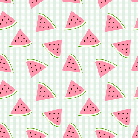 Watermelon seamless pattern with checkered background