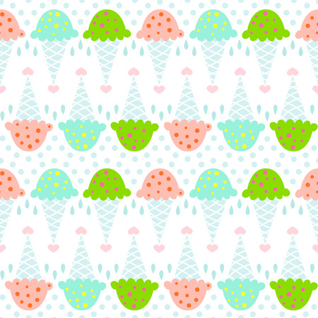 Ice cream seamless pattern with hearts and dots Illustration