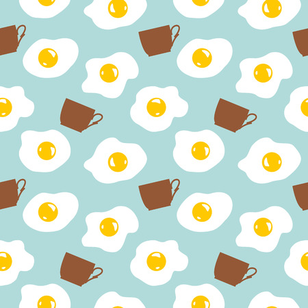 breakfast pattern with eggs and cups of coffee