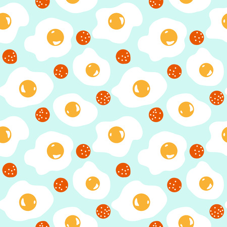Cute seamless breakfast pattern with eggs and sausages Illustration