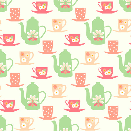 Retro seamless pattern with teapots, tea mugs and coffee cups