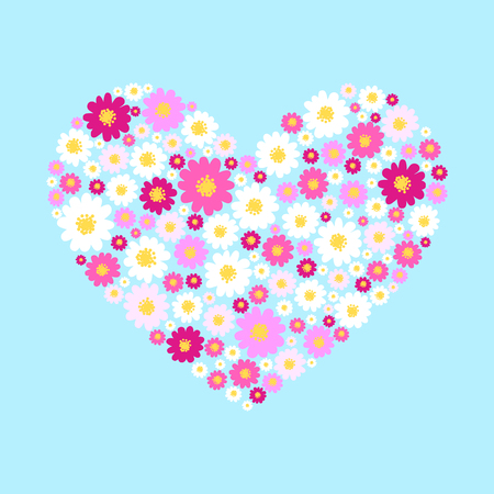 marguerite: Heart with sweet small daisy flowers. Illustration