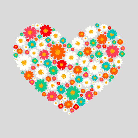 Heart with sweet small daisy flowers. Illustration