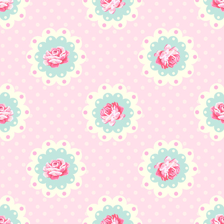 Vintage rose pattern. Shabby chic style vector background Illustration