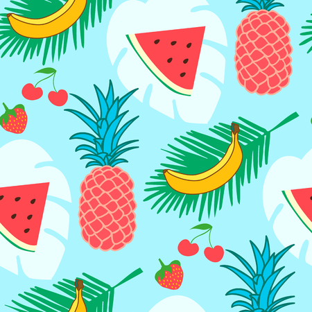 Colorful summer fruits seamless pattern