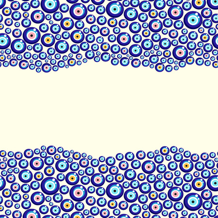 Evil eye vector pattern. Turkish bead background.
