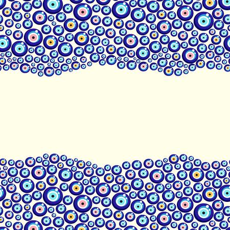 Evil eye vector pattern. Turkish bead background.