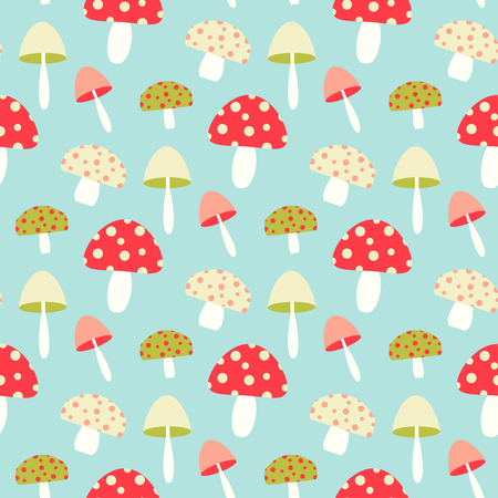 Pretty seamless pattern with mushroom