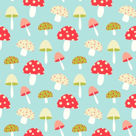 Pretty seamless pattern with mushroom