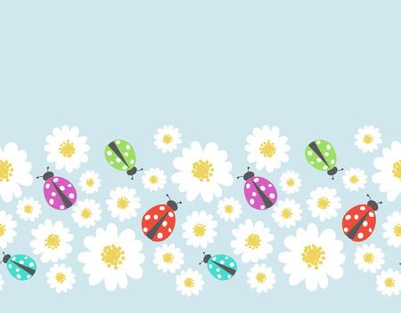 flower ladybug: Seamless pattern border with flower, ladybug