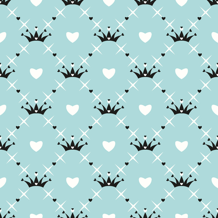 heart and crown: Seamless pattern with crown, heart and star