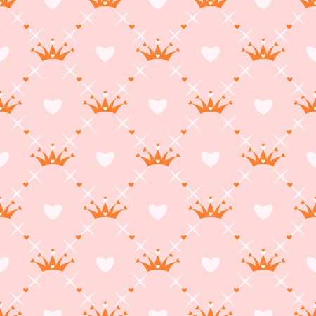 heart with crown: Seamless pattern with crown, heart and star