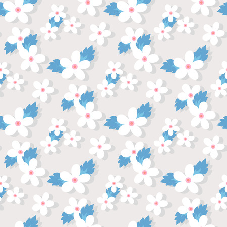 small flower: Sweet vector pattern with small flower. Small cute white flowers on a grey background. Illustration
