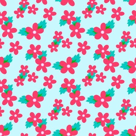 Sweet vector pattern with small flower. Small cute pink flowers on a blue background.