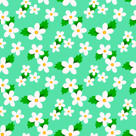 Sweet vector pattern with small flower. Small cute white flowers on a green background.
