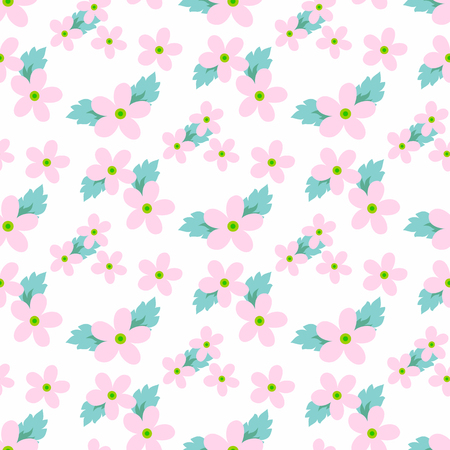 flower petals: Sweet vector pattern with small flower. Small cute pink flowers on a white background.