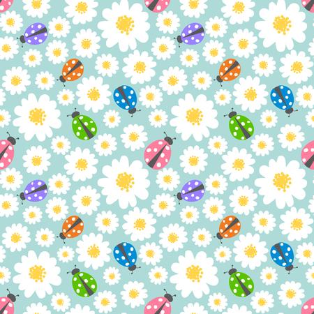 Nahtlose Muster Hintergrund mit Blumen und Marienkäfer