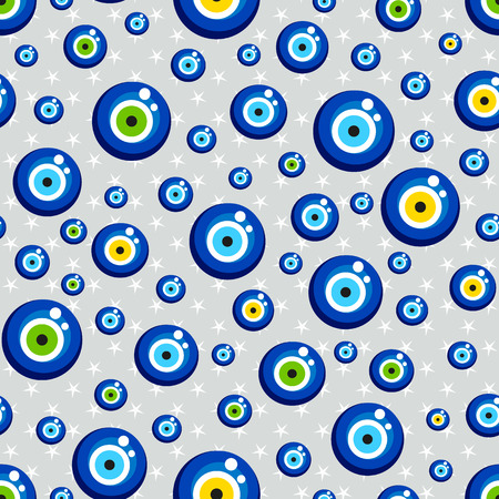 evil eye: Evil eye with star vector pattern. Turkish bead background. Illustration