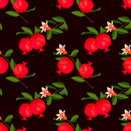 Seamless pattern with pomegranate fruit. Fruits background. Vector floral pattern.