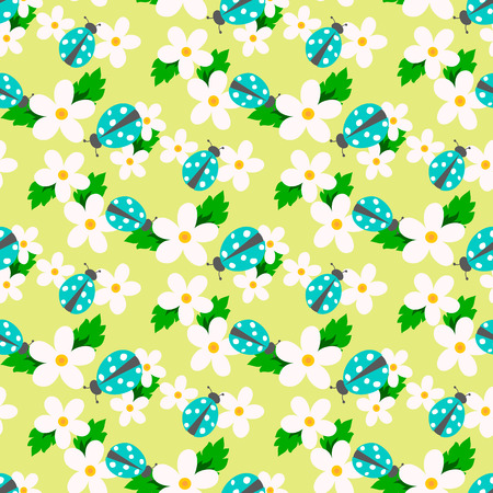 small flower: Small flower with ladybug vector. Cute white floral seamless pattern. Floral background.