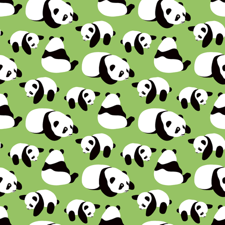 Panda bear vector background. Seamless pattern with cartoon pandas. Ilustrace